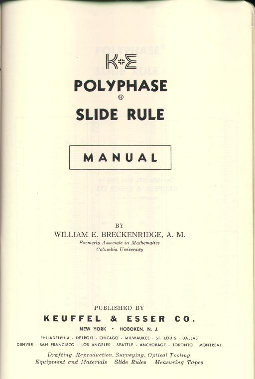 k&e slide rule manual